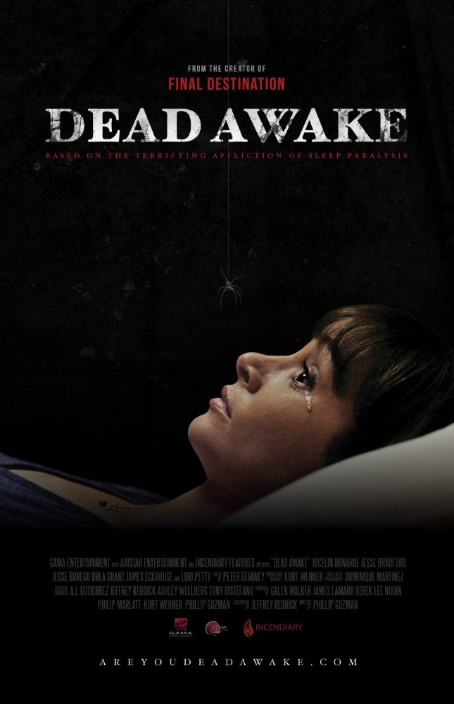 Dead Awake poster - horror movie starring Jocelin Donahue and Jesse Bradford