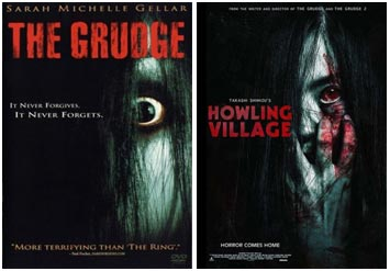 The movie posters for The Grudge (2004) and Howling Village